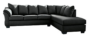 Darcy 2-Piece Sectional with Chaise, Black, large