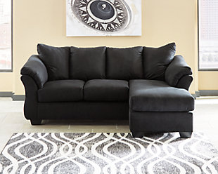 Darcy Sofa Chaise, Black, large