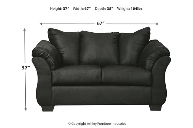 Darcy Loveseat, Black, large