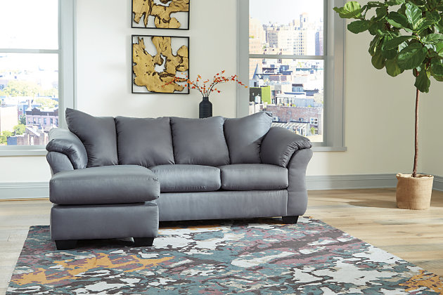 Darcy Sofa Chaise, Steel, large