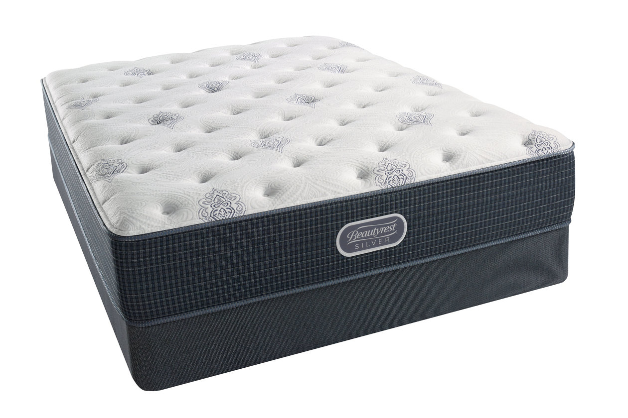 Beautyrest Silver Breakwater Luxury Firm Queen Mattress White Gray