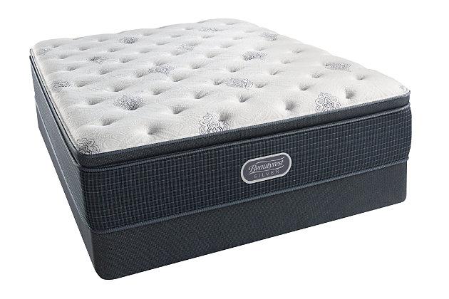 Beautyrest Silver Breakwater Plush Pillow Top Twin XL Mattress, White/Gray, large