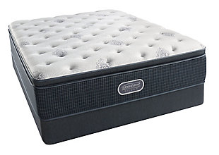 Beautyrest Silver Breakwater Plush Pillow Top Queen Mattress, White/Gray, large