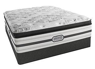 Beautyrest Platinum Santa Monica Plush Pillow Top Queen Mattress, White/Gray, large