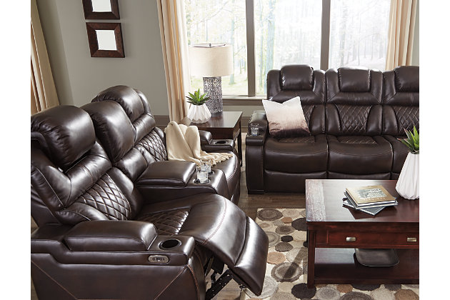 Warnerton Power Reclining Loveseat With Console Ashley