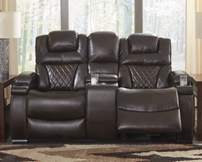 Ashley Warnerton Power Reclining Loveseat with Console, C...