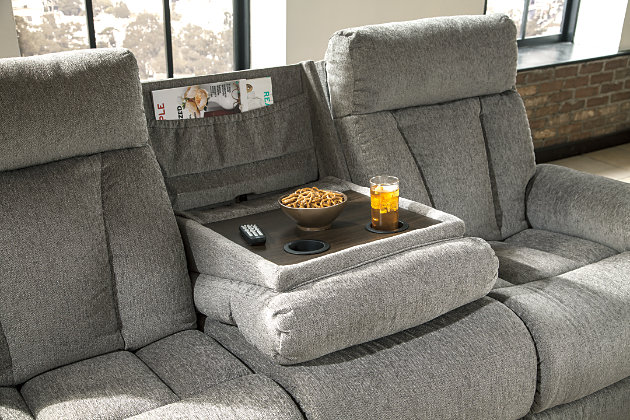 Mitchiner Reclining Sofa with Drop Down Table | Ashley ...