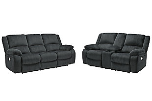 Draycoll Sofa and Loveseat, Slate, large