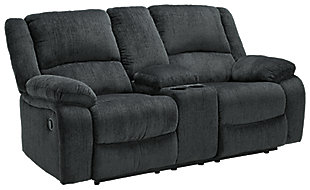 Draycoll Reclining Loveseat with Console, Slate, large