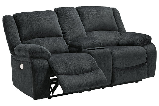 Draycoll Power Reclining Loveseat with Console, Slate, large