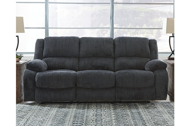 Draycoll Reclining Sofa, Slate, large