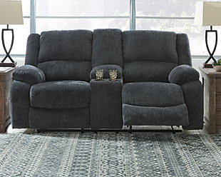Draycoll Reclining Loveseat with Console, Slate, rollover
