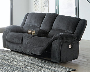 Draycoll Power Reclining Loveseat with Console, Slate, rollover