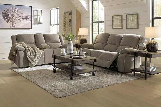 Draycoll Sofa and Loveseat, Pewter, large