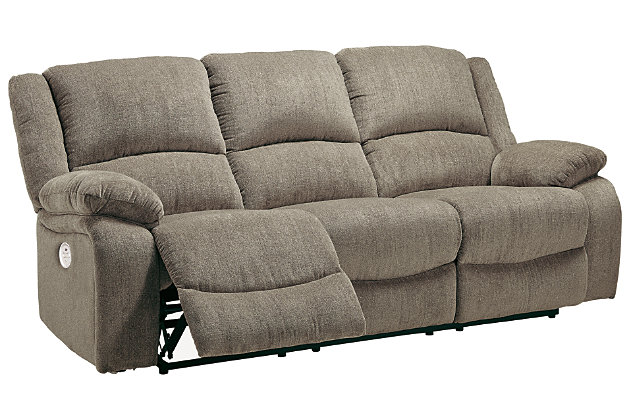 Draycoll Power Reclining Sofa, Pewter, large