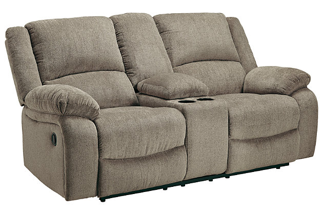 Draycoll Reclining Loveseat with Console, Pewter, large