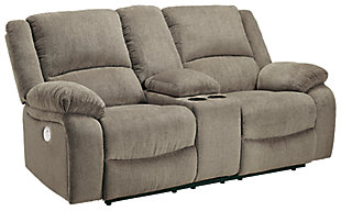 Draycoll Power Reclining Loveseat with Console, Pewter, large