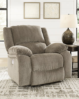 Draycoll Power Recliner, Pewter, rollover