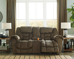 Capehorn Reclining Loveseat with Console, Earth, rollover
