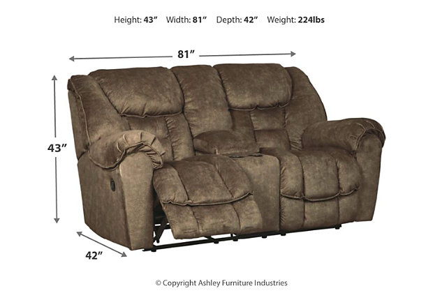 Capehorn Reclining Loveseat with Console, Earth, large