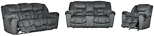 Capehorn Sofa, Loveseat and Recliner, Granite, large