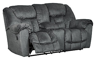 Capehorn Reclining Loveseat with Console, Granite, large