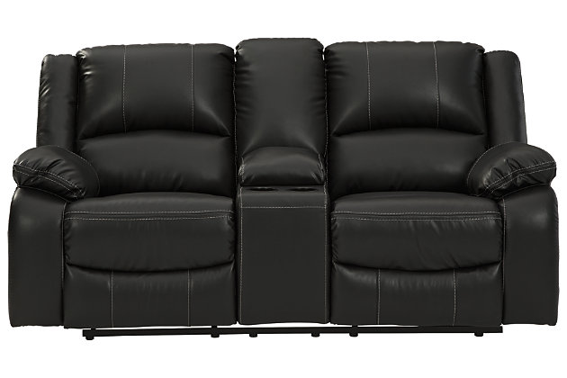 Calderwell Reclining Loveseat with Console, Black, large