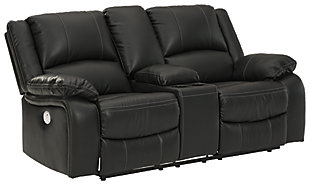 Calderwell Power Reclining Loveseat with Console, Black, large