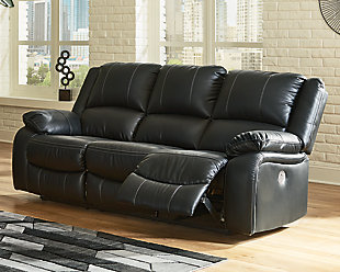 Calderwell Power Reclining Sofa, Black, rollover