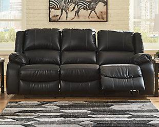 Calderwell Reclining Sofa, Black, rollover