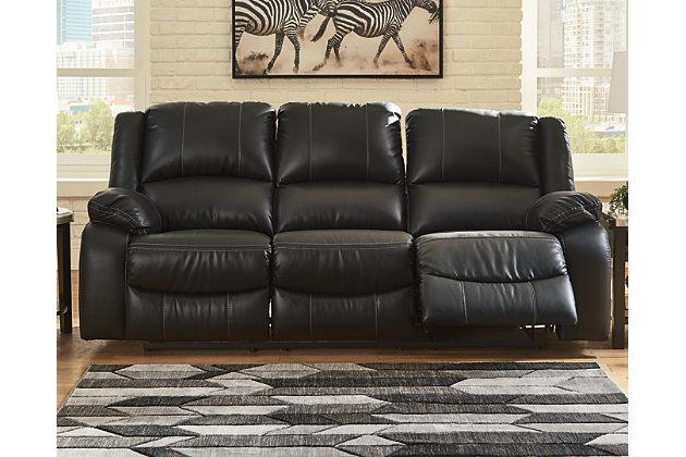 Calderwell Reclining Sofa, Black, large