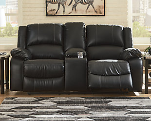 Calderwell Reclining Loveseat with Console, Black, rollover