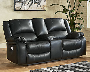Calderwell Power Reclining Loveseat with Console, Black, rollover