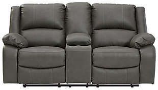 Calderwell Reclining Loveseat with Console, Gray, large