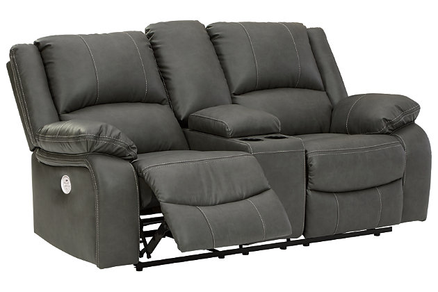 Calderwell Power Reclining Loveseat with Console, Gray, large