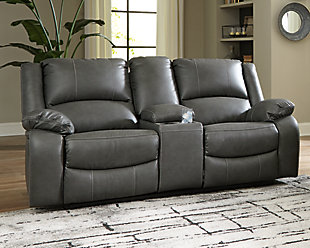 Calderwell Power Reclining Loveseat with Console, Gray, rollover