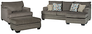 Dorsten Sofa Chaise, Chair, and Ottoman, Slate, large