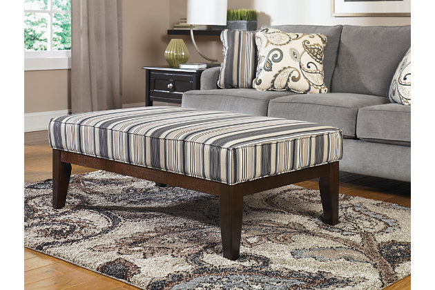 Marvelous Sophisticated Gray Striped Ottoman Coffee Table