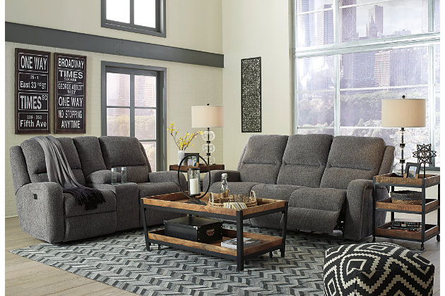 Krismen Power Reclining Sofa, Charcoal, large