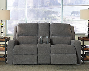 Krismen Power Reclining Loveseat, Charcoal, rollover