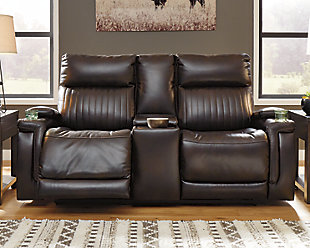 Team Time Power Reclining Loveseat with Console, , rollover