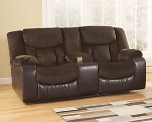 Tafton Reclining Loveseat with Console, Java, rollover
