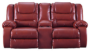 Vacherie Reclining Loveseat with Console, Salsa, large