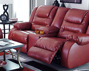 Vacherie Reclining Loveseat with Console, Salsa, rollover
