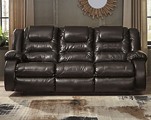 Vacherie Reclining Sofa, Chocolate, large
