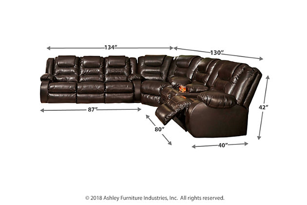 Vacherie 3-Piece Reclining Sectional, Chocolate, large