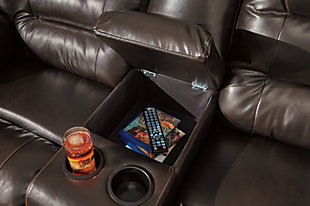 Vacherie Reclining Loveseat with Console, Chocolate, large