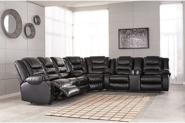 Vacherie 3-Piece Reclining Sectional, Black, large