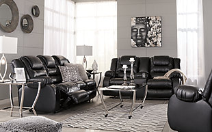 Vacherie Reclining Loveseat with Console, Black, large
