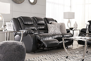 Vacherie Reclining Sofa, Black, large